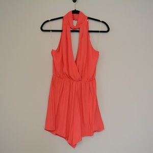 NWT Women's Lush Romper Red Bright Twist Neck